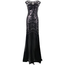 Flapper Girl 1920s Black Sequin Gatsby Maxi Long Evening Prom Dress Plus Size