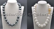 X0502 20mm White Black Round SOUTH SEA SHELL PEARL NECKLACE CZ Cougar 20inch
