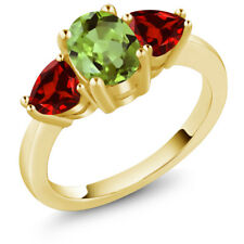 2.41 Ct Oval Green Peridot Red Garnet 18K Yellow Gold Plated Silver Ring