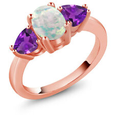 1.85 Ct Oval Cabochon White Simulated Opal Purple Amethyst 14K Rose Gold Ring