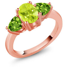 2.06 Ct Oval Yellow Lemon Quartz Green Peridot 18K Rose Gold Ring