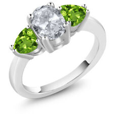2.26 Ct Oval White Topaz Green Peridot 925 Sterling Silver Ring