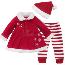 Infant Baby Girls Christmas Santa Claus Hat+Dress Tops+Pants Costume Xmas Outfit