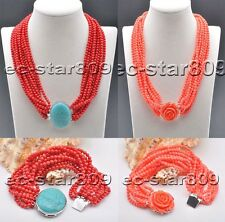 X0503 12Strds 4mm Red & Pink round Coral bead Necklace Bracelet
