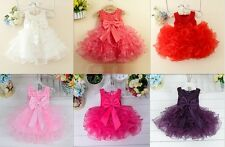 Baby Flower Girl Princess Bow Dress Toddler Wedding Party Pageant Tutu Dress US