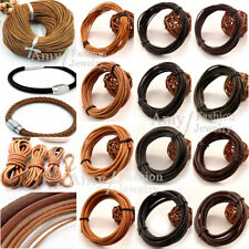 100% Real Round Natural Brown Leather Cord 1.2.3.4MM String Lace Thong Jewelry