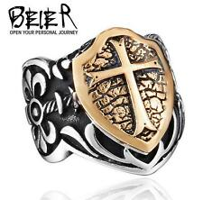2016 fashion Man's Titanium steel carved inlaid copper Cross  shield ring size10