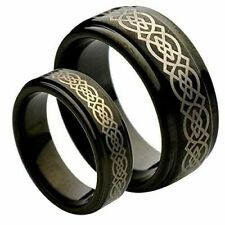His & Her's 8MM/6MM Black Tungsten Carbide Celtic Knot Wedding Band Ring set