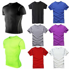 Men's Compression Base Layers Under Skin Sports Gym Tops Short Sleeve Tee Shirts