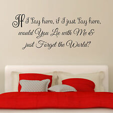 If I Lay Here Snow Patrol Song Lyrics Vinyl Wall Art Sticker Decal Bedroom