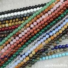 """4mm-12mm Round Wholesale Lot Natural Gemstone Loose Beads Jewelry Making 15"""" A"""