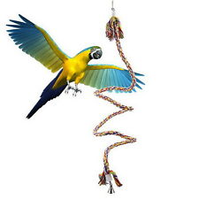 1 1.5M Pet Bird Parrot Rope Coil Swing Perches Cockatiel Conure Cage Toys TY