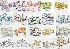 Charm Fashion 20pcs 8MM Plated silver crystal straight edge spacer beads U PICK