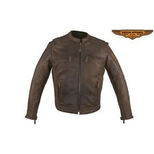 Mens Motorcycle Brown Soft Cowhide Leather Diamond Jacket Concealed Carry M-3XL