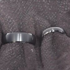 Black Tungsten His & Hers Engagement Wedding Band Ring Sets Brushed Bevel Edge