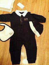 NWT NEW Gucci baby boys blue white 3pc set romper bib beanie 6/9 18/24m 269751