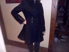 Betsey Johnson Black Wool Blnd Corset Fit & Flare Swing Coat