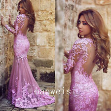 2017 Lace Mermaid Evening Party Dresses Pink Appliques Formal Pageant Prom Gowns