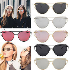 Women Men Flat Lens Mirror Metal Frame Oversized Sunglasses glasses Eyewear