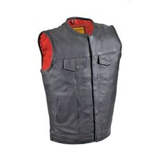 Mens Black Leather Motorcycle Club Vest Snap Button
