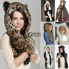 Fashion Men Women Winter Warm Faux Fur Animal Hat Cap Scarf Paws Leopard Hats