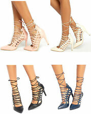 Ladies High Stiletto Heel Lace Up Pointed Toe Womens Work Court Party Shoes