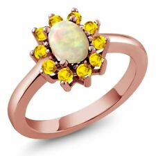1.01 Ct Oval Cabochon White Ethiopian Opal Yellow Sapphire 18K Rose Gold Ring