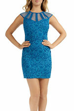 Teeze Me Juniors Cap Sleeve Illusion Top Lace Overlay BodyCon Dress
