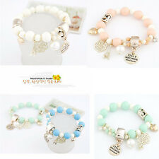 Chic Bangle Beaded Bracelet Elastic Charm Rose Flower Imitation Pearl Bracelet