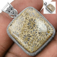 Indonesian Fossil Coral 925 Sterling Silver Pendant Jewelry SDP1773