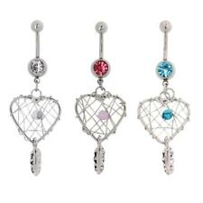 Love Crystal Stainless Steel Dream Catcher Belly Button Ring Navel Body Jewelry