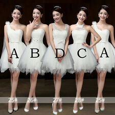 White Short Skirts Tulle Bridesmaid Dresses Prom Party Graduation Cocktail Gown