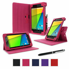 rooCASE Rotating Smart Cover Case Folio Stand with Stylus for Google Nexus 7 FHD