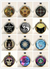 """Vintage Flat Round Glass Cabochon Pendant Necklaces Alloy Chain Jewelry 18"""" New"""