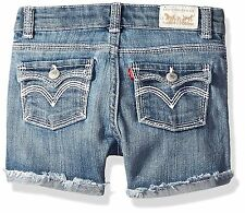 Levis Shorts Girls Thick Stitch Denim Shorty Short Sizes 8 to 14 Med Wash NWT