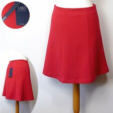 M&S PETITE Panelled A-LINE SKIRT with WOOL ~ Asst Sizes ~ RED