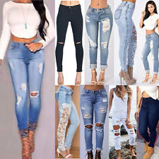 Women Denim Skinny Ripped Pants High Waist Stretch Jeans Slim Pencil Trousers IN