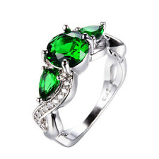 Infinity Green Emerald Wedding Lady Ring 10KT White Gold Filled Jewelry Size6-11