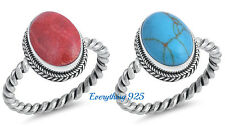 Sterling Silver 925 PRETTY RED OVAL DESIGN CORAL STONE RING 17MM SIZE 6-10
