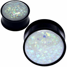 PAIR-BLACK STAINLESS STEEL Simulated WHITE GLITTER OPAL -EAR GAUGES-EAR PLUGS