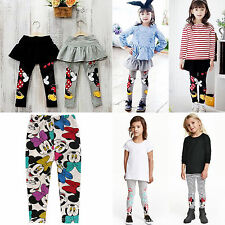 Kid Girls Warm Cotton Mickey Full Length Leggings Stretch Pants With SkirtS 2-6Y