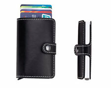 Wallet Aluminum ID Card Case Automatic Business Card Holder Leather Slim Mini