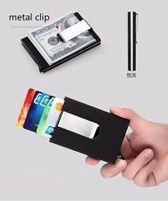 Automatic Card Wallet Men Women Business ID Credit Card Holder with metal clip