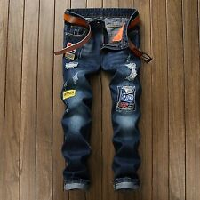 Men's Slim Patch Straight Retro Destroyed Ripped Skinny Leg Jeans Casual Pants