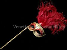 Christmas Womens Ostrich long feather stick Venetian Masquerade Ball eye mask