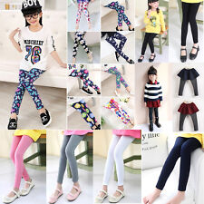 Kids Girls Leggings Fashion Design Warm Party Casual Full Length Trousers 3-12 Y