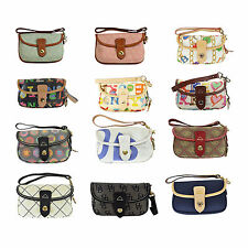 NEW Dooney Bourke Signature DB Logo Print Flap Wristlet Pouch Many Choices