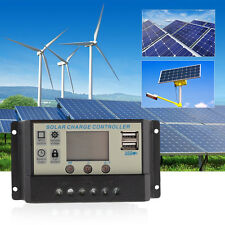 10A/20A/30A PWM LCD USB Solar Panel Battery Regulator Charge Controller 12V/24V
