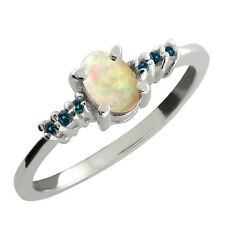 0.39 Ct Oval Cabochon White Ethiopian Opal Blue Diamond 925 Sterling Silver Ring