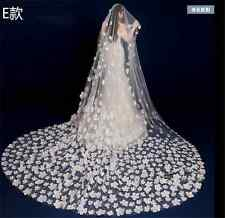 Newest White Princess Veils Flower Wedding Bridal Veil Handwork Cathedral Custom